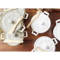 Pretty brie bakers with little wooden spreaders   by knackstudio // yeahTHATgreenville