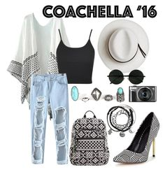 """""""B&W Coachella Look"""" by fehlovely ❤ liked on Polyvore featuring Topshop, Calypso Private Label, Chicnova Fashion and Vera Bradley"""