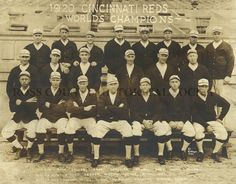 A photo of the world champion Cincinnati Reds team, 1920. One wonders if there was an inside joke, now lost to history, in the 3-2-1 hand gestures of the men on the left side of the bottom row.