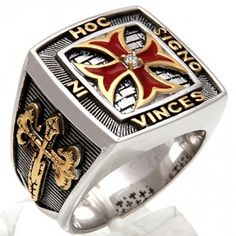 Silver Knights Templar Cross Ring by Uniqable - IN HOC SIGNO VINCES