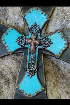 Pretty rustic turquoise cross