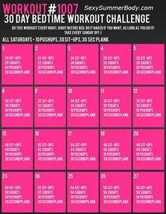 Bed Time Workout Challenge
