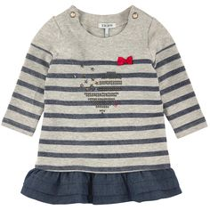 Striped jersey top and sleeves in cotton and elastane blend. Round neckline and long sleeves. One snap button on each shoulder. Small red bow on the chest. Indigo tencell flounces on the hem. - $ 70.00