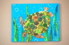 that artist woman: Mixed Media Turtle.  Great how to make mixed media collages, step by step.  Studying ocean life is a perfect spring or summer activity.  Create one of these featuring a favorite aquatic creature.