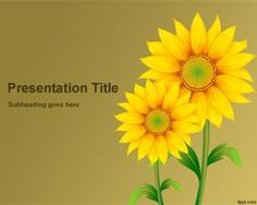 Free Sunflowers PowerPoint Template with yellow background