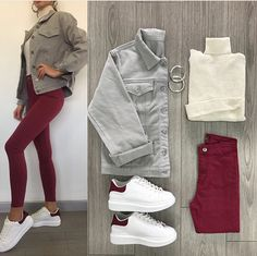 White turtle neck, grey denim jacket, burgundy jeans and white superstars. @maymoda on Instagram