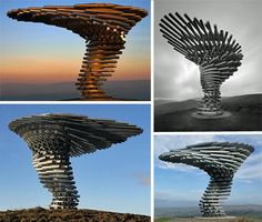 The Singing Ringing Tree is a musical structure found in Lancashire, England, which makes beautiful tones whenever a light breeze sweeps by its exposed tubes.