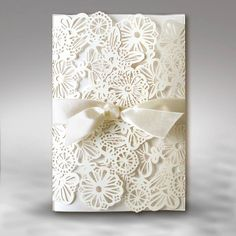 Invitation with invory and ivory insert and satin ribbon ivory wedding invitations Ivory Wedding Invitations, Communion Invitations, Affordable Wedding Invitations, Wedding Stationery, Wedding Reception Games, Cheap Wedding Venues, Wedding Favors For Guests, Laser Cut Invitation, Rustic Wedding Centerpieces