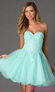 Strapless Corset Style Prom Dress at PromGirl.com