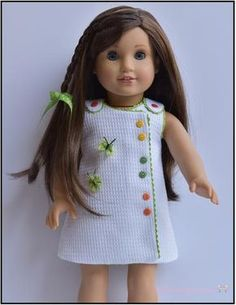 The Butterfly Frock is a simple, timeless dress. Although it has buttons up the front, there are no button holes to make. There are snaps hidden underneath the buttons. Kids Dress Clothes, Sewing Doll Clothes, Crochet Doll Clothes, Girl Doll Clothes, Doll Clothes Patterns, Clothing Patterns, Doll Patterns, Crochet Dolls, My American Girl Doll