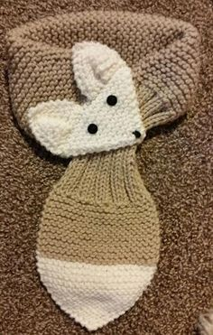Diy Crafts - Adjustable Hand Knit Fox Scarf Beige/ Cream neck by QuiltNCrochet Diy Crafts Knitting, Knitting For Kids, Baby Knitting Patterns, Crochet Crafts, Knitting Projects, Hand Knitting, Diy Crochet, Crochet Patterns, Fox Scarf