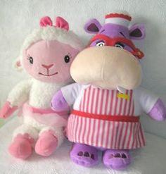 Doc-McStuffins-Hug-amp-Cuddle-Talking-Plush-Hallie-amp-Lambie-Both-work-EUC