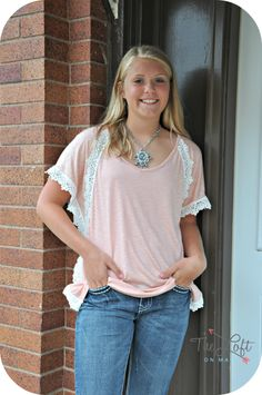Grace is adorable in the denim capris &  peach lace trimmed top...  a new piece of jewerly too...  #follow #fashion