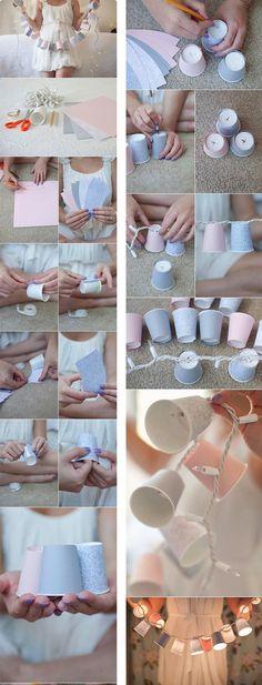 DIY Decorative Paper Cups Garland Lights - wenn für die erste Wohnung kein Geld für Möbel ist :3