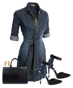 """""""LE3NO DENIM DRESS"""" by arjanadesign ❤ liked on Polyvore featuring LE3NO, Louis Vuitton, Gorjana and Cartier"""