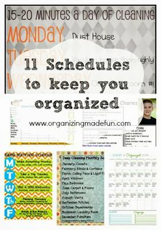 11 Great Schedules to Keep Your Organized :: OrganizingMadeFun.com