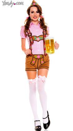 #NoGo - Absolutly No!!! Pink Lederhosen Beer Babe Costume, Pink Oktoberfest Costume, Sexy Beer Babe Costume