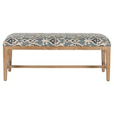 Linen Ikat Bench, Blue/White