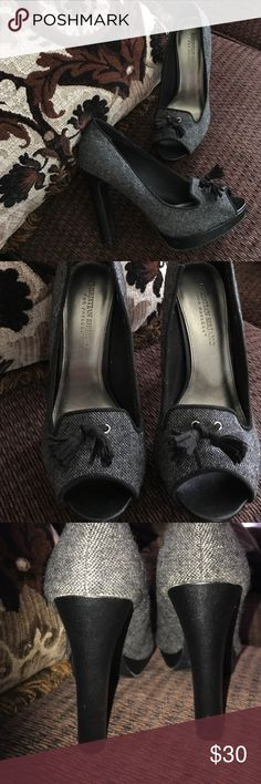 Christian Siriano 'Lambert' gray tweed Tassel pump Popular style from Christian Siriano Payless collection. Extremely high-quality for Payless these have a chunky heel for ease of wear and a platform that makes them easy to walk in. I love the dark gray and black contrast and the black tassel and peep toe really drive it up a notch! I only wore these once because I have a similar pair. Passing them along to a fellow Posher! Christian Siriano Shoes Heels