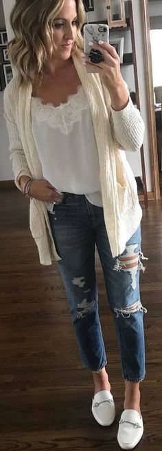 #spring #outfits white top, ripped jeans, white loafers, creamy sweater