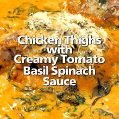 Skillet Chicken Thighs with Creamy Tomato Basil Spinach Sauce - great idea for a quick weeknight meal! Boneless skinless chicken thighs are seared to perfection and served in a creamy tomato basil sauce with Skillet Chicken Thighs, Chicken Thighs Dinner, Keto Chicken Thighs, Chicken Breasts, Guisado, Chicken Thigh Recipes, Tasty Chicken Thigh Recipe, Chicken Fillet Recipes, Salmon Recipes