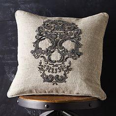 Museum Silver Beaded Skull Pillow in Natural Linen | Arhaus Furniture. LOVE IT!!!