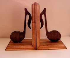 Music Note Bookends - handcrafted, home decor, music notes, wooden, musician