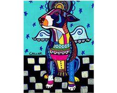 Miniature Bull Terrier Angel Original Painting by HeatherGallerArt, $250.00