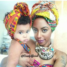 Mother and daughter with natural hair- cute black hair wraps. Black Is Beautiful, Beautiful Women, Curly Hair Styles, Natural Hair Styles, Natural Beauty, African Head Wraps, Pelo Natural, Turban Style, Scarf Hairstyles