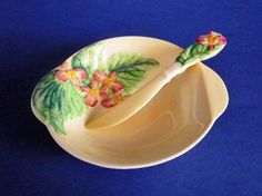 Rare Carlton Ware Yellow 'Begonia' Butter Dish and Knife c1936