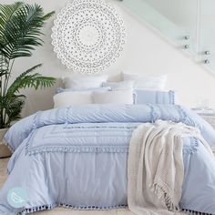 Drift off to sleep amid dreams of the sunny seaside with our stunning Allegra Quilt Cover Set. Available in light blue and white, this embellished cotton quilt cover will create a chic, coastal vibe in your bedroom. Light Blue Rooms, Light Blue Bedding, Blue And White Bedding, Blue Comforter Sets, Blue Duvet Covers, Blue Bedspread, Bedding Sets, Blue Room Decor, White Bedroom Decor