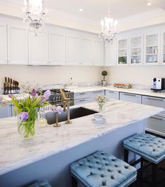 Light Grey kitchen cabinets New superwhite quartzite counters   See this Instagram photo by @classyglamliving • 96 likes