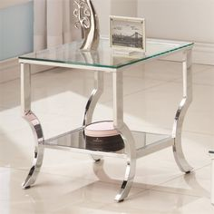 coaster 1 shelf glass top end table in chrome - 720337