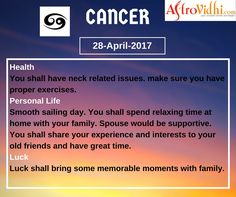 Read Your Free Cancer Daily Horoscope (28-April-2017). Read detailed horoscope at astrovidhi.com. Sagittarius Daily Horoscope, Free Daily Horoscopes, Aquarius Daily, Leo Zodiac, Scorpio, Sailing Day, Feeling Fatigued, Meeting Someone New, Scorpion