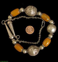 Yemeni Necklace Handmade Amber Color Silver Beads - Yemeni - Jewelry  | 350 dollars