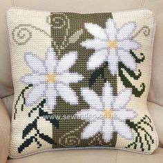 Buy Floral Stripe Cushion Front Chunky Cross Stitch Kit Online at www.sewandso.co.uk