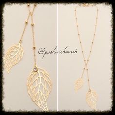 """Brass Dainty Feather Y Necklace Brass Y necklace featuring beaded chain and leaf pendants. 17"""" long with 2"""" extender. #4j Jewelry Necklaces"""