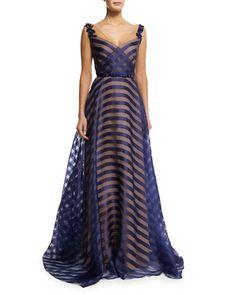 Marchesa Notte Belted Organza V-Neck Gown, Navy