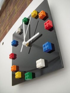 Lego bricks on black gloss acrylic wall clock by Honeypea on Etsy