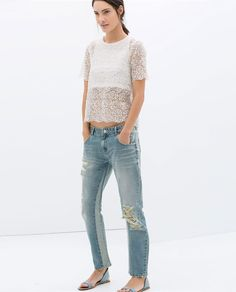 ZARA - WOMAN - RIPPED BOYFRIEND JEANS