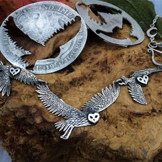 The Hairy Growler Jewellery Co. The Woodland collection. Parliment of owls silver necklace. Eco-conscious, eco-friendly, ethically responsible, handmade and totally lovely silver jewellery.