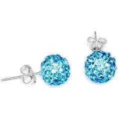 8mm Aqua Austrian Crystal Ferido Ball Stud Earrings | Body Candy Body Jewelry