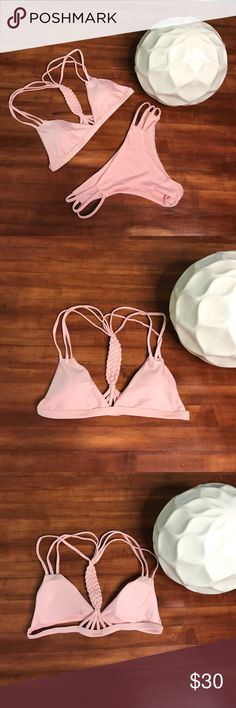Ballerina pink braided bikini This bikini goes great with a tan! It has a cheeky cut bottom with strappy sides. The top has a beautiful braid detail back with pads. So adorable! Brand new and never worn! Swim Bikinis