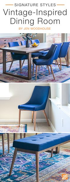 Add vintage charm and bold color to your dining room with mid-century style seating. A natural oak finish and silky linen upholstery make these chairs and this bench a style statement that's best complemented with colorful accents and lush greenery. Provide ample seating around the table by utilizing an unexpected but functional bench. We partnered with blogger Jen Woodhouse to create this stylish dining room. Click to explore her selected products.