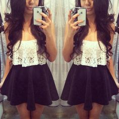 lace crop top and black high wasted skirt :)