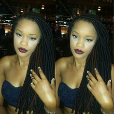 Black and Brown yarn locs    ig: @amia_renee