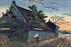 "Japanese Art Print ""Twilight in the Village, Nara"" by Asano Takeji. Shin Hanga and Art Reproductions http://www.amazon.com/dp/B00XTK0580/ref=cm_sw_r_pi_dp_VBXvwb00J1KQ4"