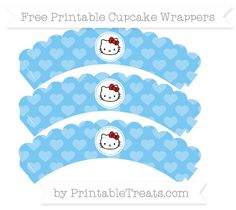 Free Pastel Light Blue Heart Pattern  Hello Kitty Scalloped Cupcake Wrappers