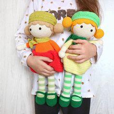 Crochet doll toy Tilda amigurumi yellow doll Toddler girl