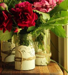 mason jar diy with rope and paper doily